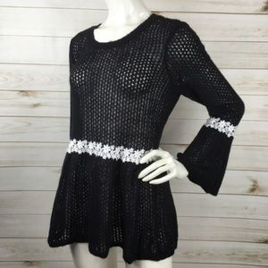 LC Lauren Conrad Knit Peplum Sweater Bell Sleeves